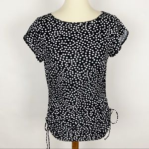 LANDS' END Polka Dot Side Ruched SS Knit Top Tee